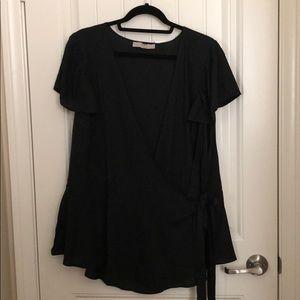 Loft Black Wrap Blouse Size 26